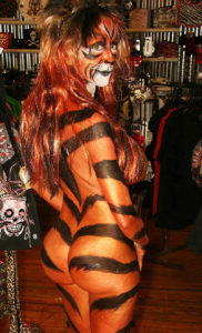 tiger body paint female looking back