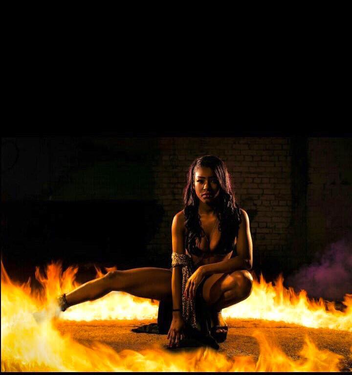 female model in a ring of fire